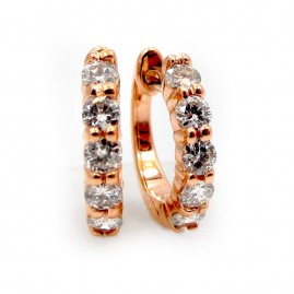 Rose Gold and Diamond Huggie Earrings