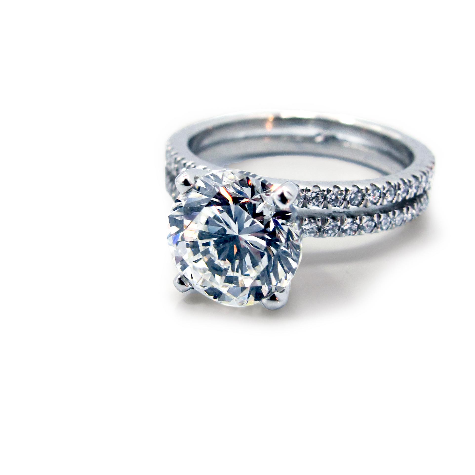Platinum And Diamond Double Band Engagement Ring