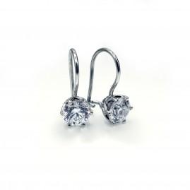 French Lever Scroll Designer Diamond Earrings