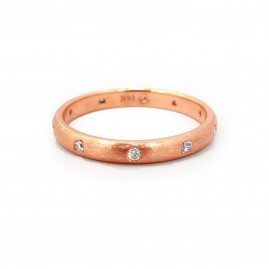 This is a picture of a Brushed Rose Gold Band with Burnish Set Diamonds