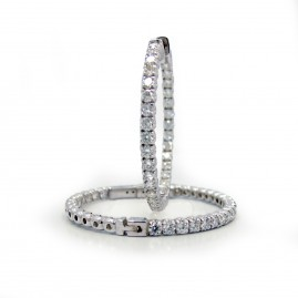 This is a picture of 18k White Gold and Diamond Hoop Earrings