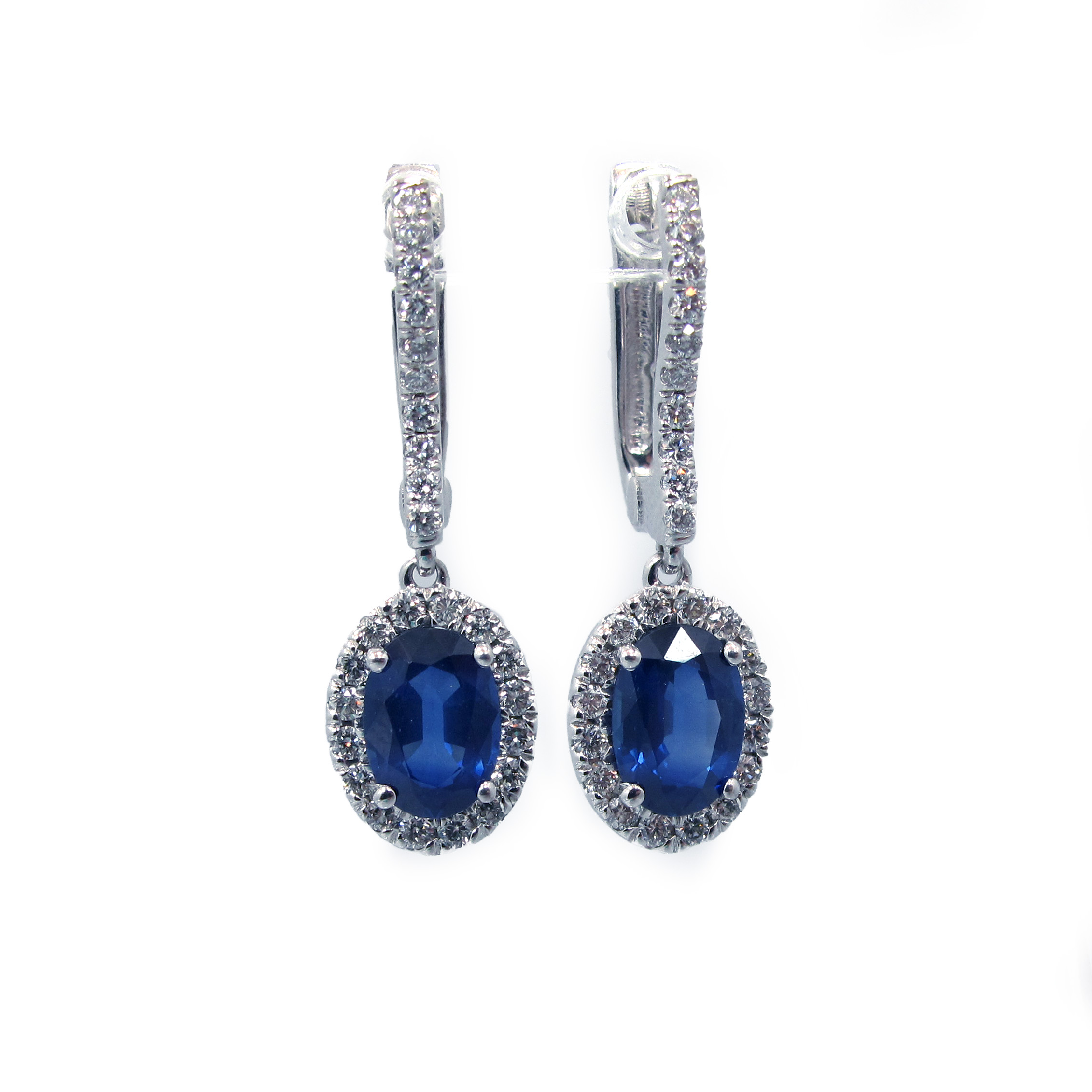 oval with sapphire earrings blue product halo diamond saphire cut gitter reuven