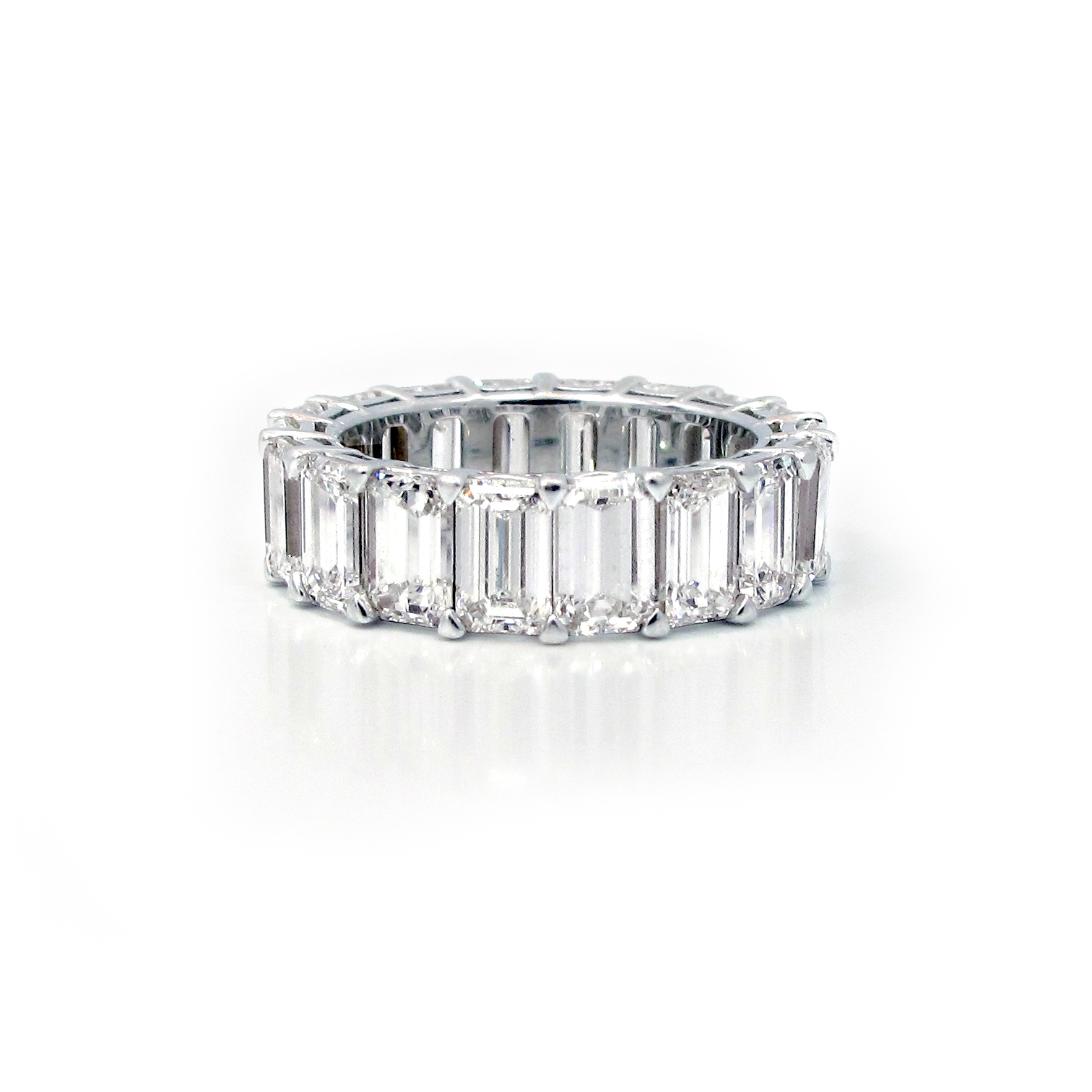 platinum jb band three product emerald shared eternity star bands prong diamond row cut