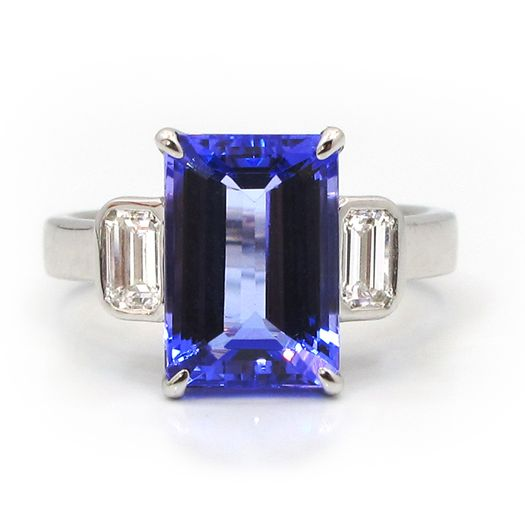imagegen cut tanzanite traditional center emerald an diamonds with stone product three and ring
