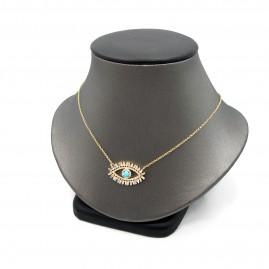 Evil Eye Turquoise and Diamond Pendant Necklace