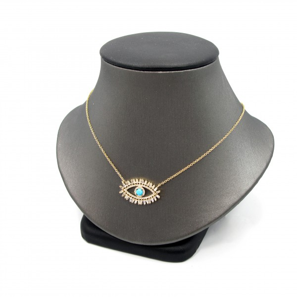 This is a picture of a Evil Eye Turquoise and Diamond Necklace