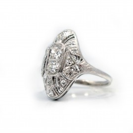 This is a picture of a Vintage Inspired Rose and Old Cut Round Diamond Engagement Ring