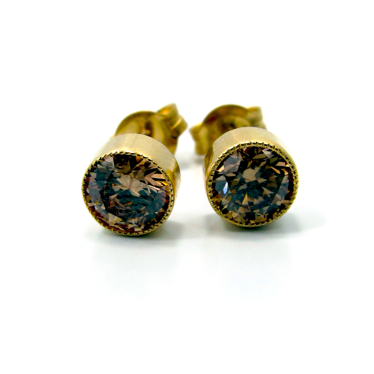 diamond earrings gold champagne stud handmade yellow carat