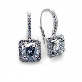 Diamond Leverback Earrings in Cushion Halo